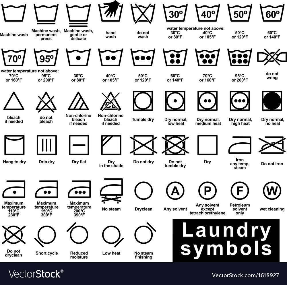 Icon Set Of Laundry Symbols Royalty Free Vector Image