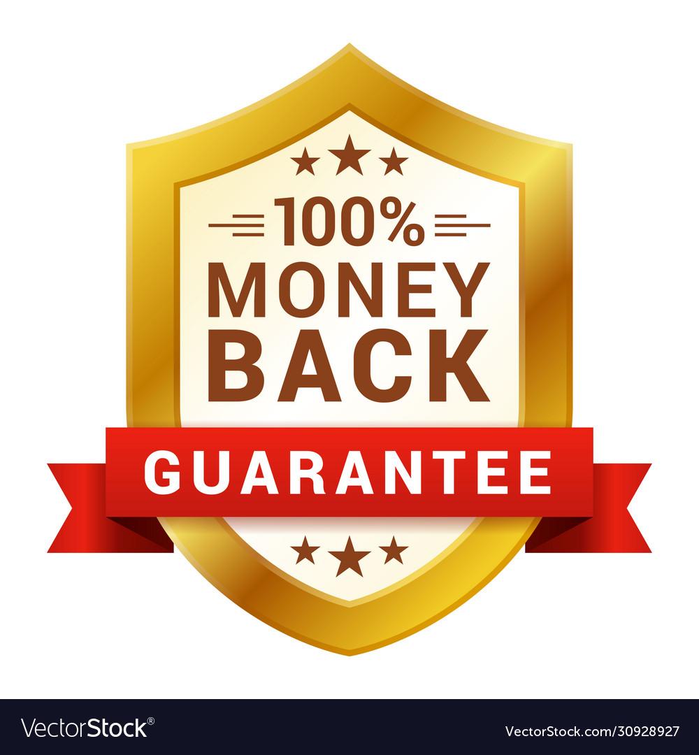 Money back badge guarantee certificate emblem