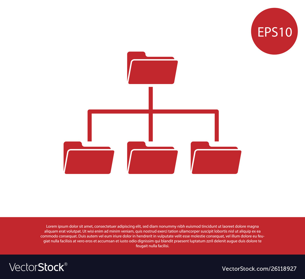 Red folder tree icon isolated on white background