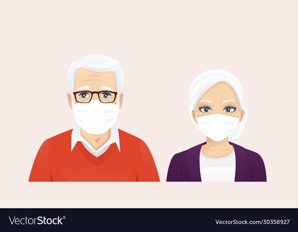 Senior man and woman wearing protective mask
