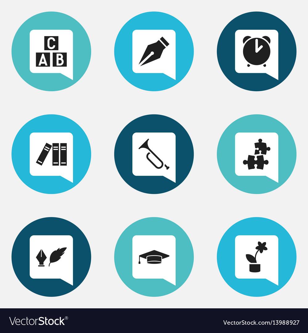 Set of 9 editable school icons includes symbols