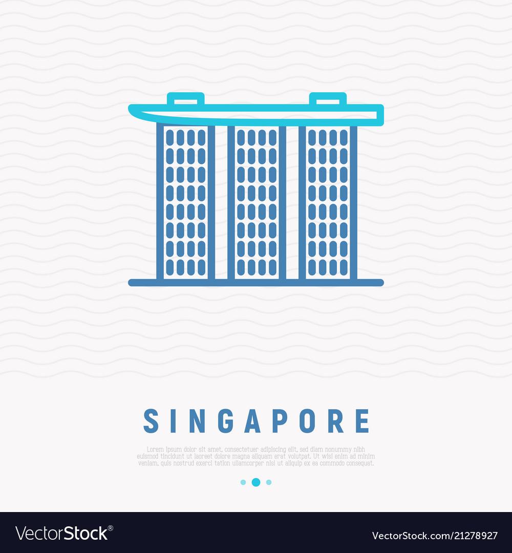 Singapore landmark thin line icon