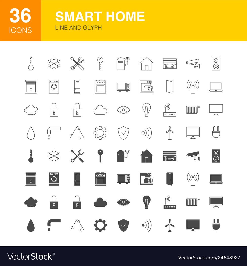 Smart home line web glyph icons