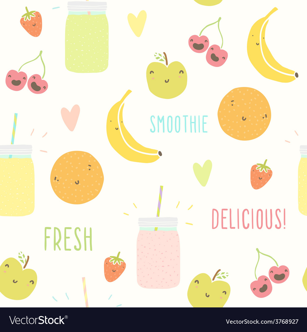 Smoothie pattern with funny fruits