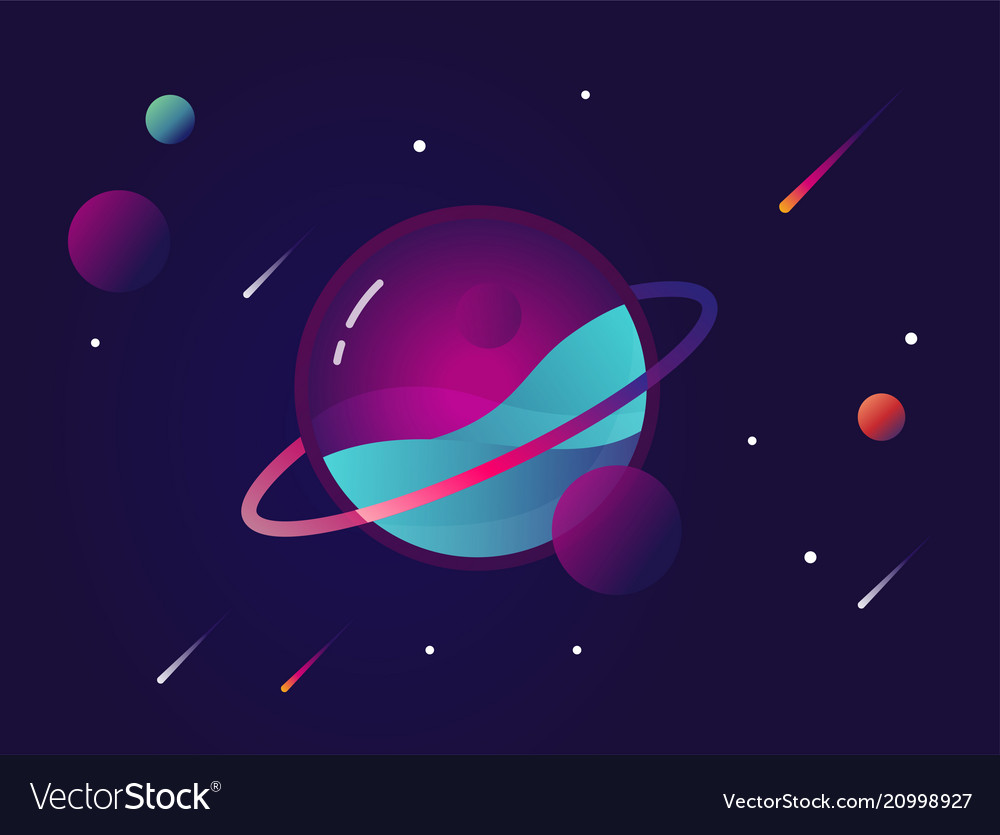 Vibrant colorful planet with stars and speeding vector image