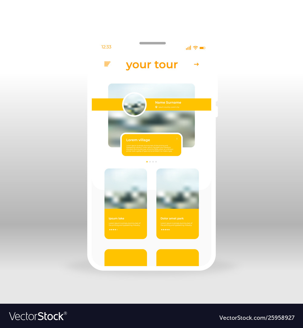 Yellow tour ui ux gui screen for mobile apps