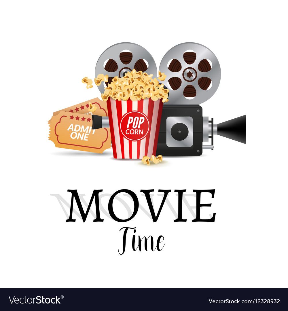cinema movie poster design template filmstrip vector image