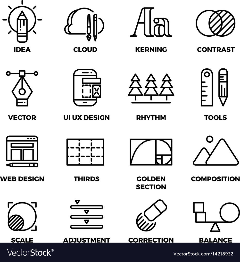 Creative process and design sketch tools outline
