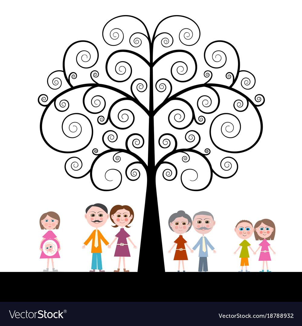 Family with curled tree on white background