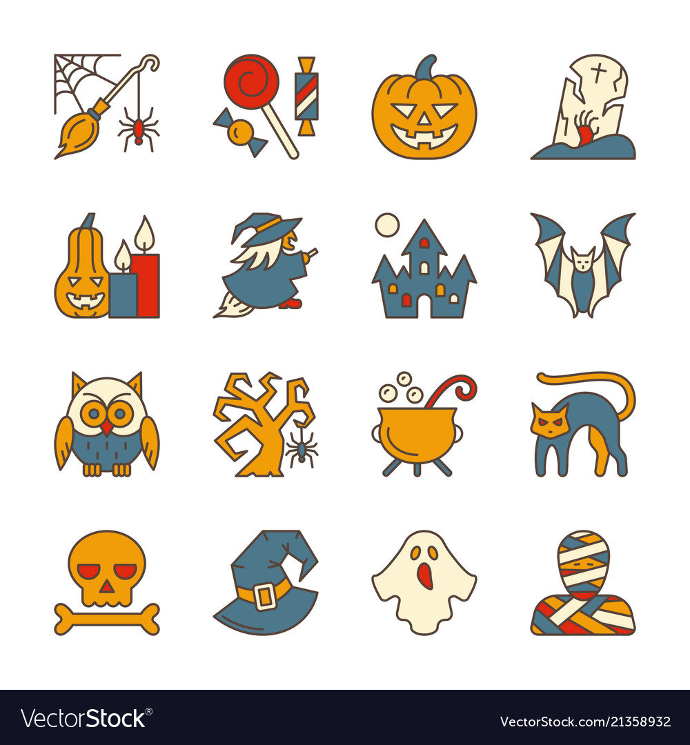 Halloween party symbol icon set editable stroke
