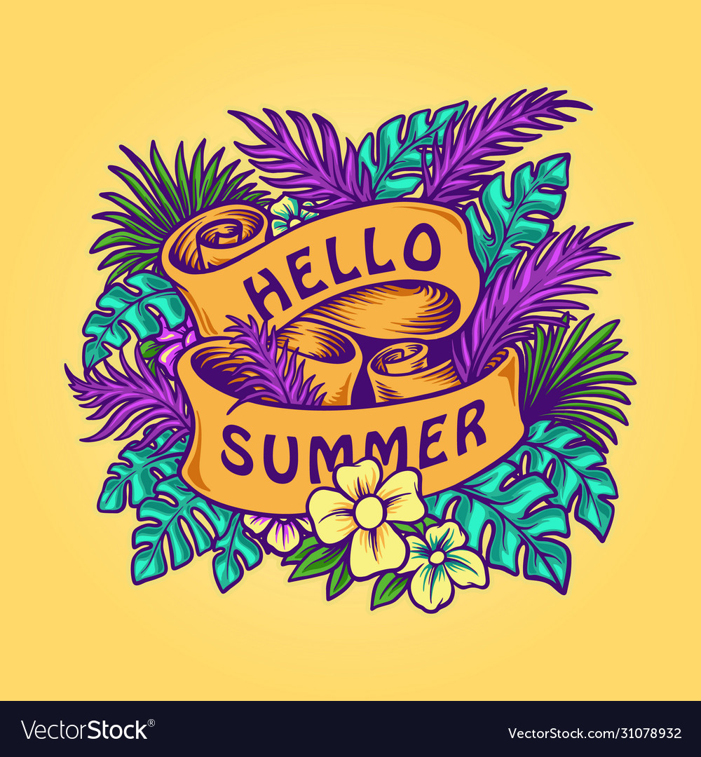 Hello summer tropical leaves banner with ribbons