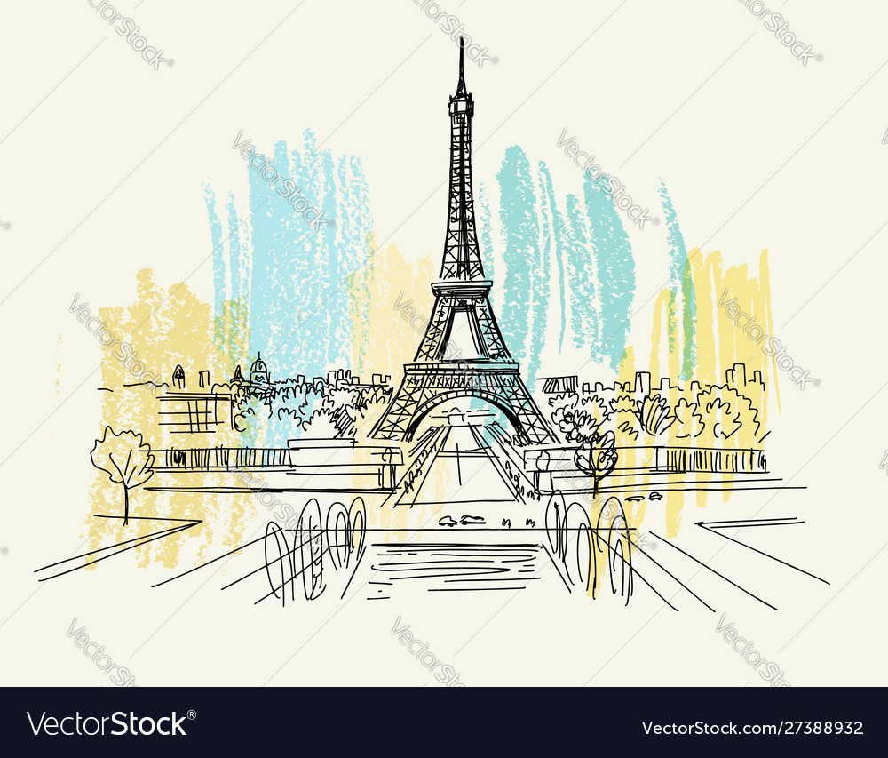 Landscape view eiffel tower