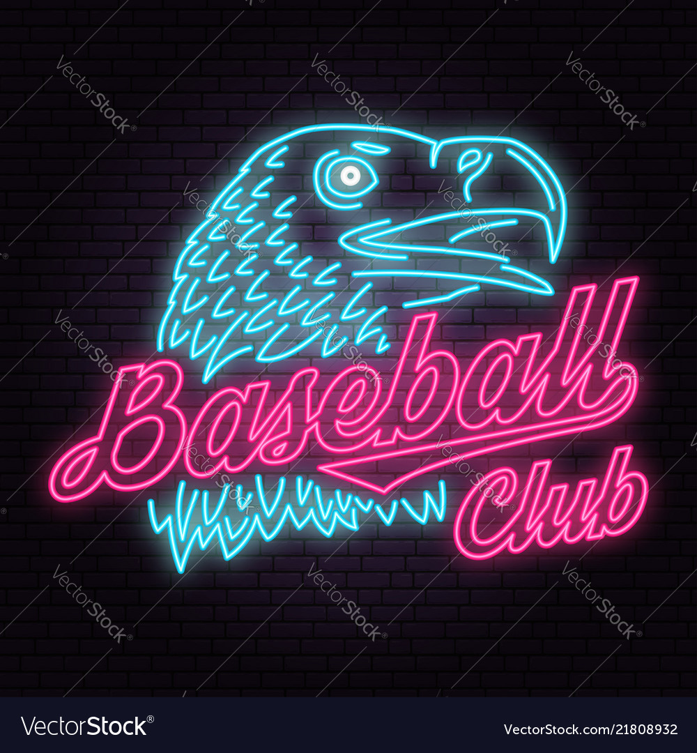 Neon baseball club badge