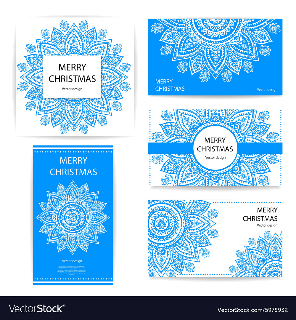 Set of banners with floral Indian ornaments can be