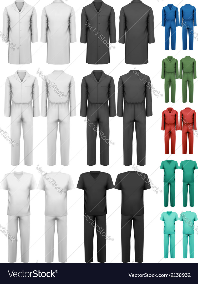 Set of overalls with worker and medical clothes