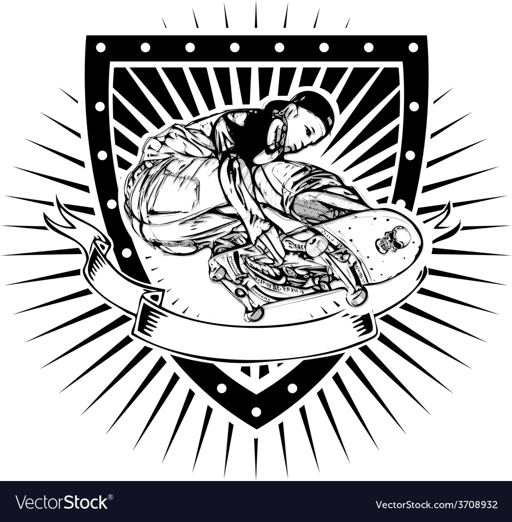 Skater shield vector image