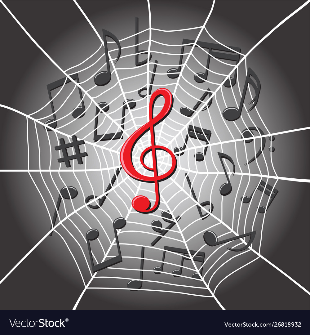 Spider web with treble clef music notes