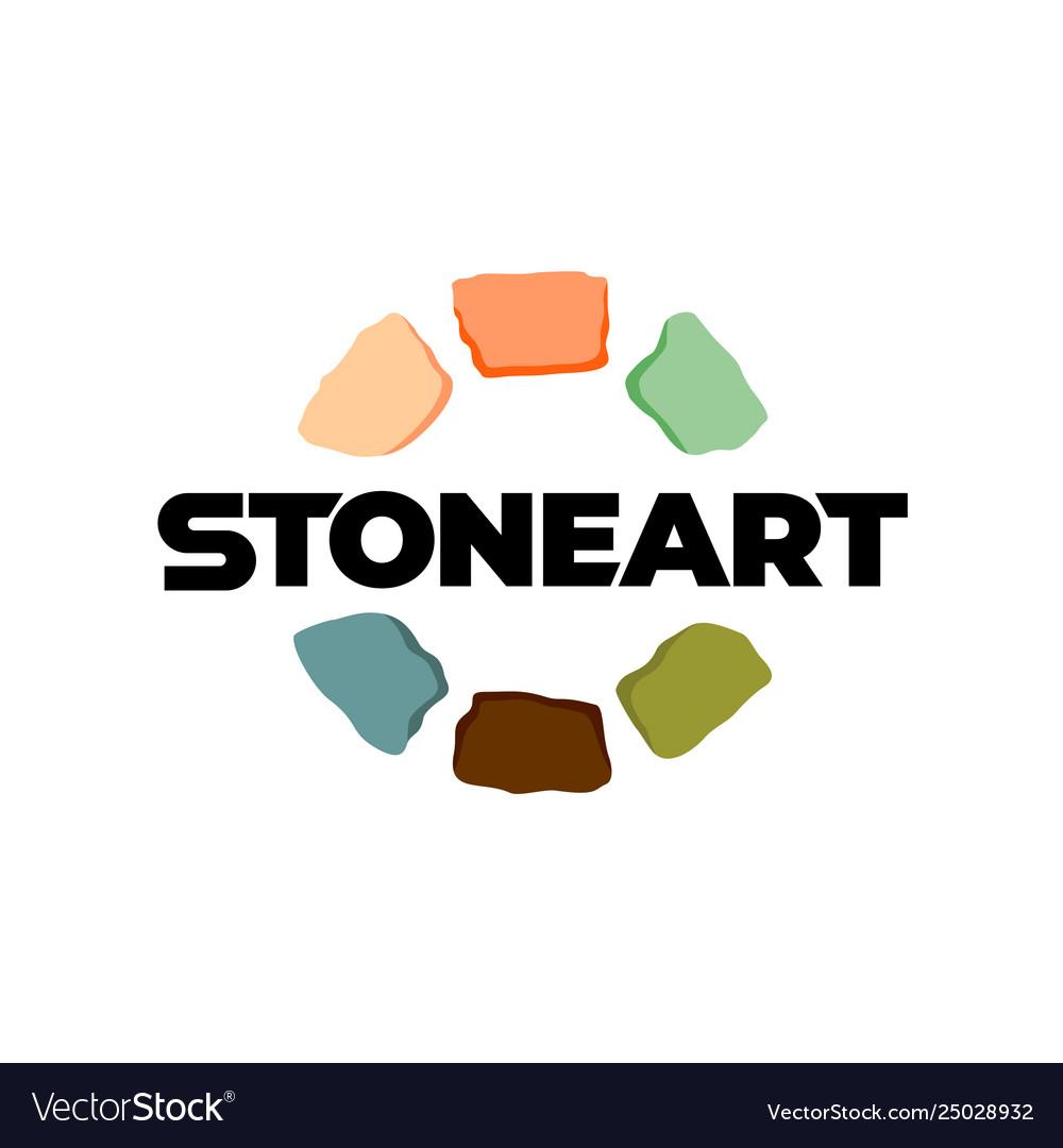 Stones logo creative color art stones around text