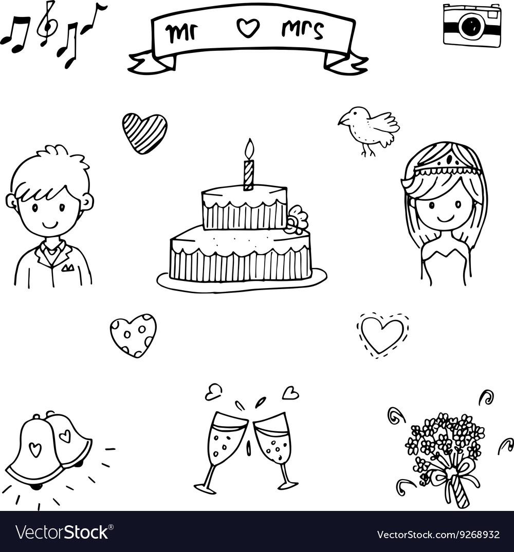 Sweet wedding doodle art