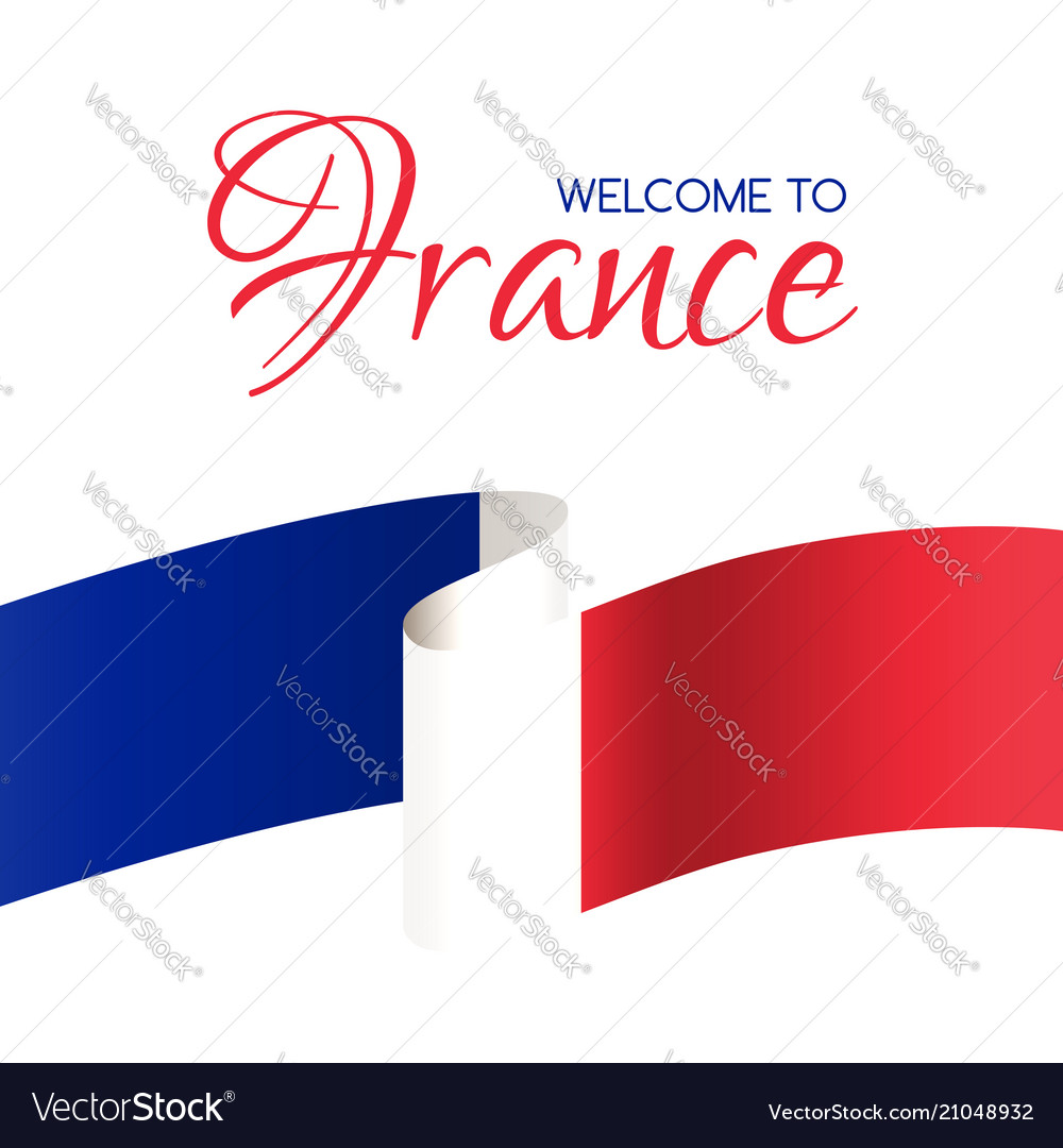 Welcome to france card with flag france