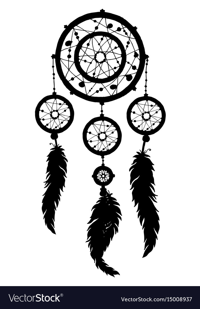 Dream Catcher Silhouette With Feathers And Beads Vector Image Enchanting Set It Off Dream Catcher