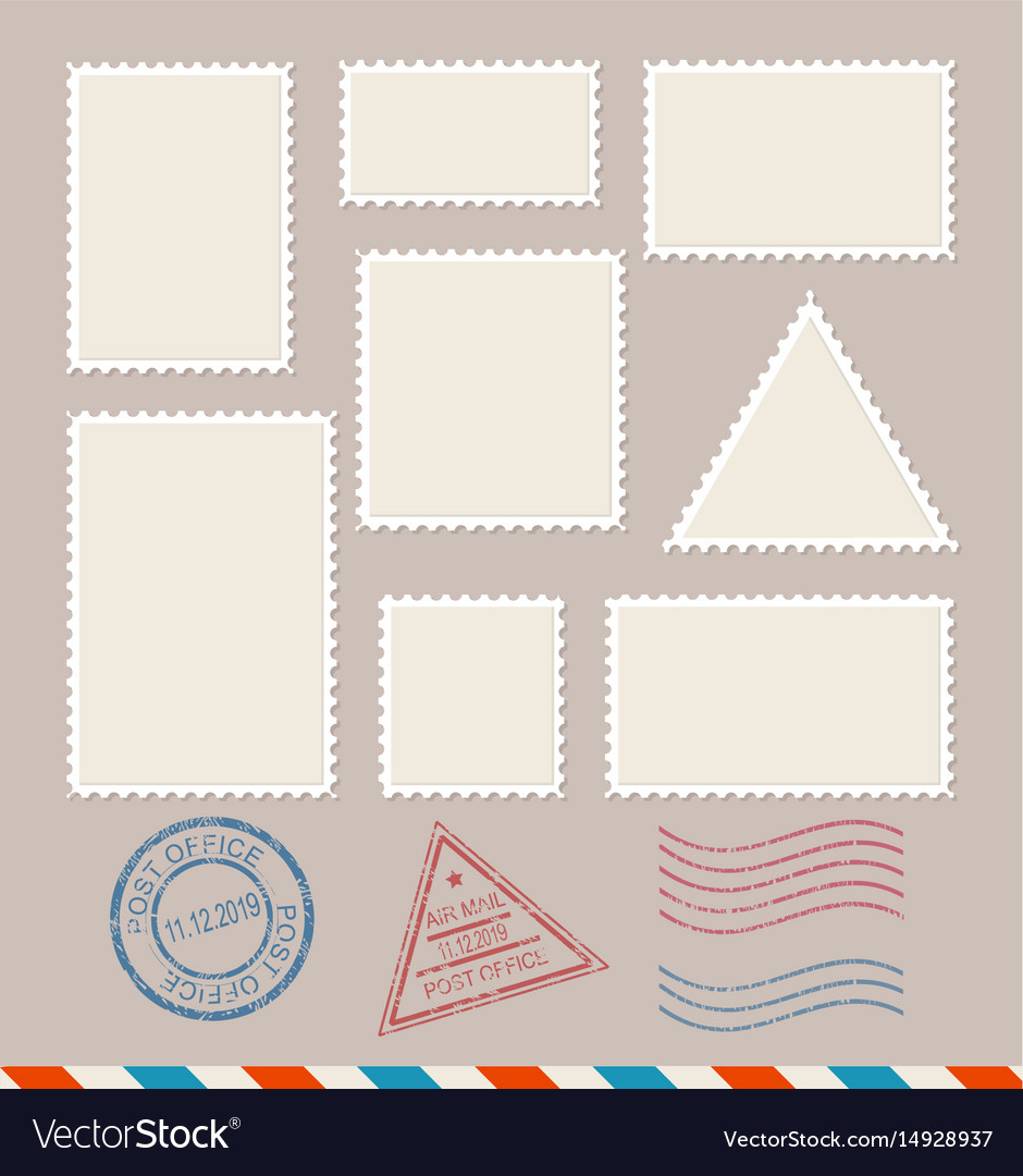 Empty template blank postage stamps set