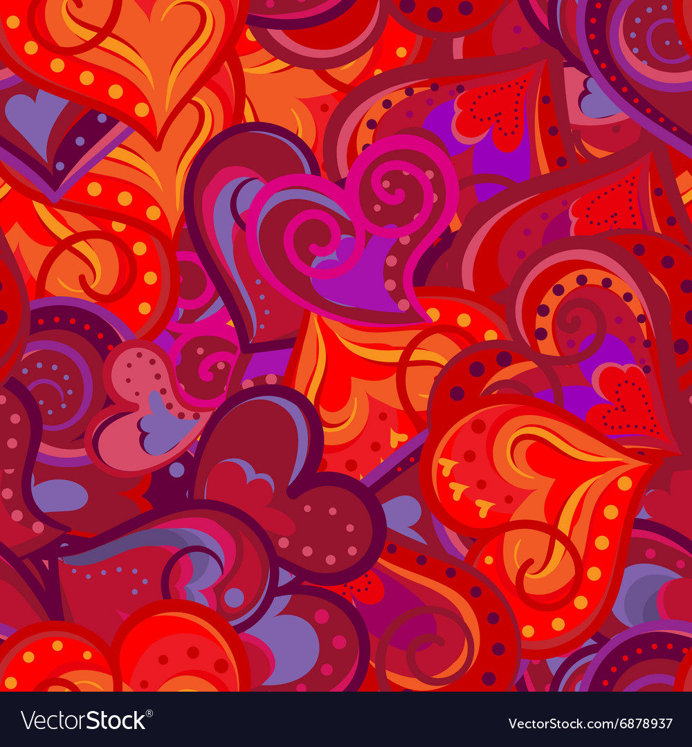 Heart red and violet pattern seamless