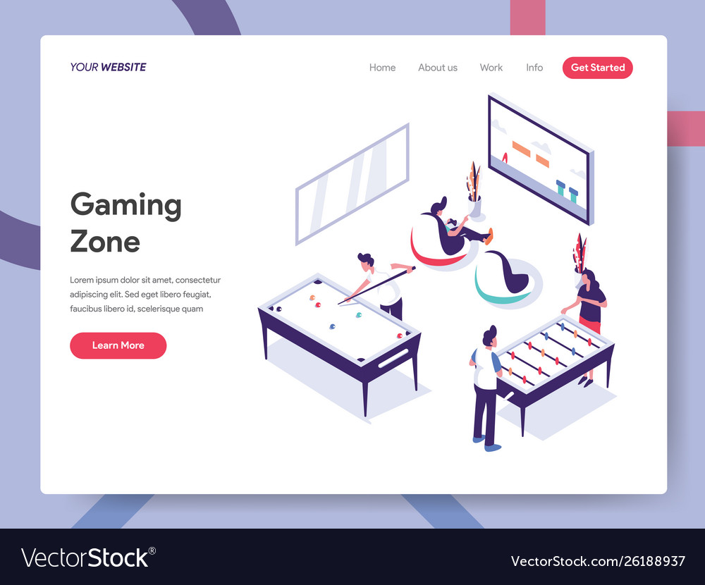 Landing page template gaming zone concept
