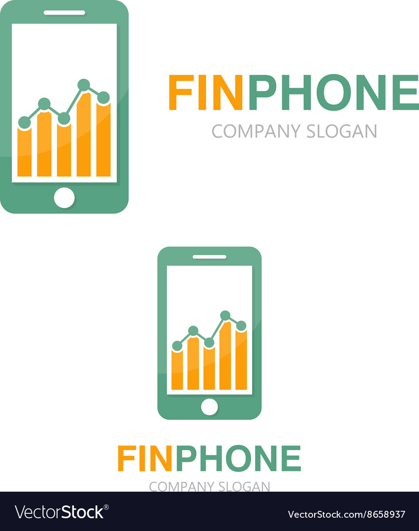Logo combination of a graph and phone