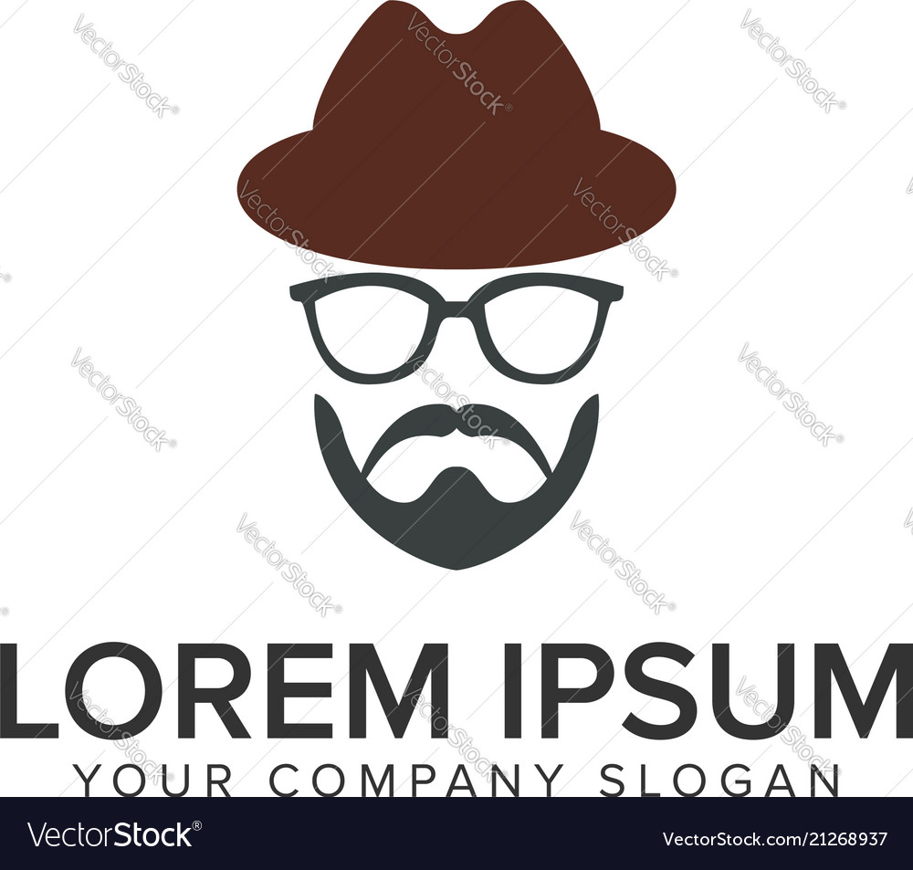 Man with beard and hat logo design concept