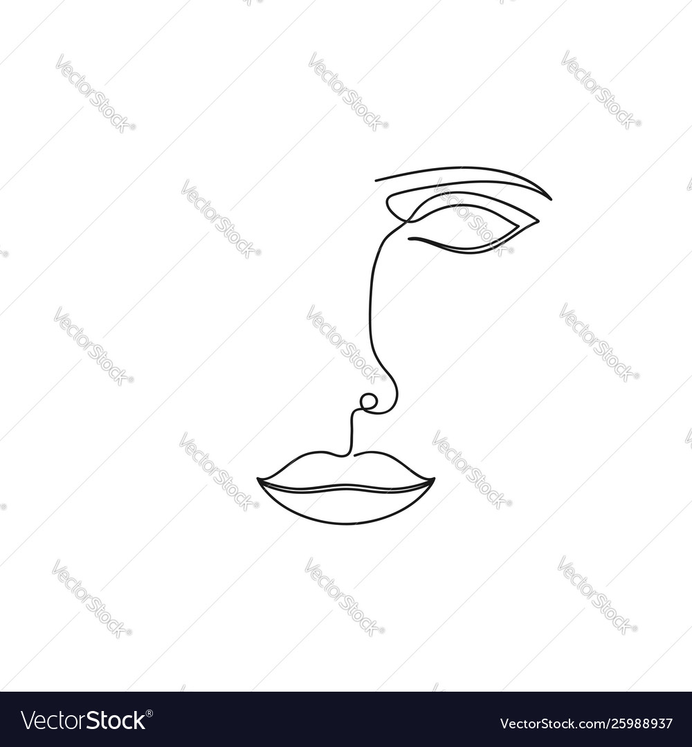 One Line Drawing Abstract Face Continuous Line