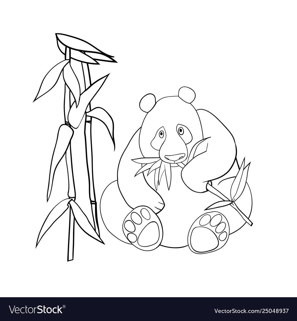 Panda and bamboo leaves coloring book