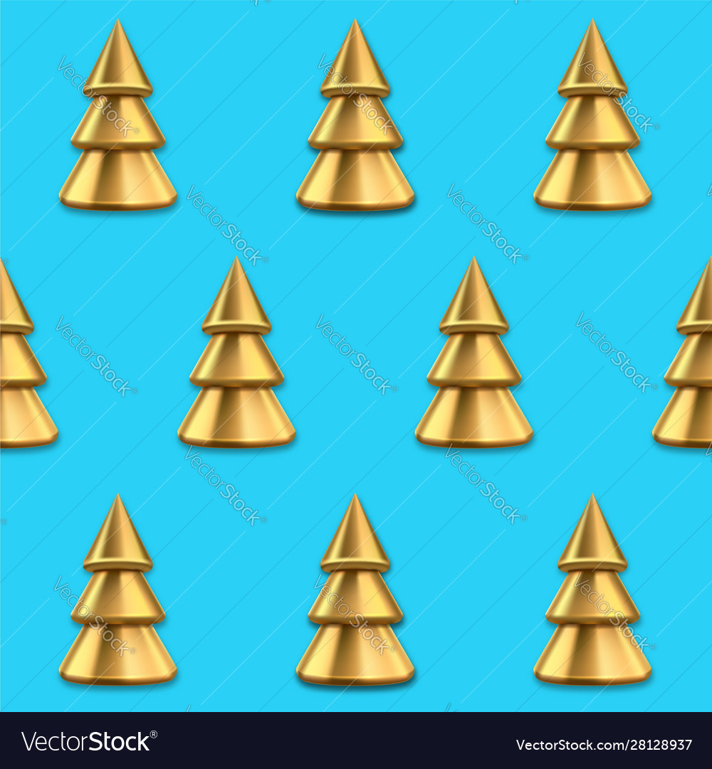 Seamless pattern with golden christmas trees