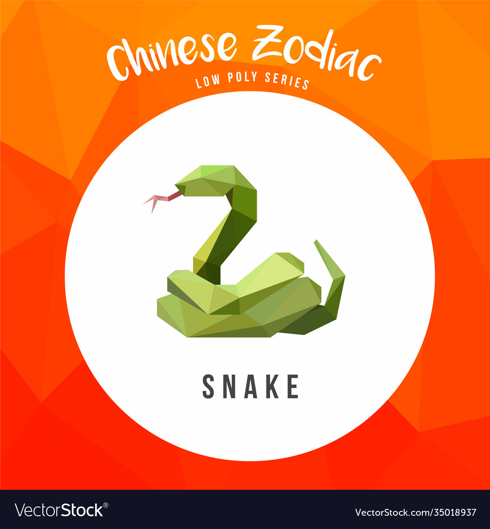 Snake chinese zodiac animals low poly logo icon