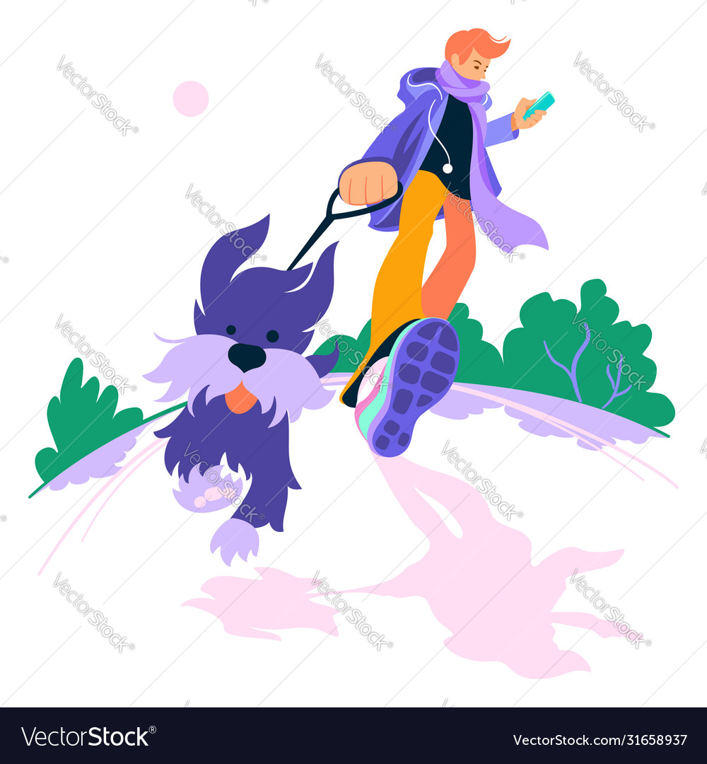 young man walk dog royalty free vector image vectorstock young man walk dog royalty free vector image vectorstock