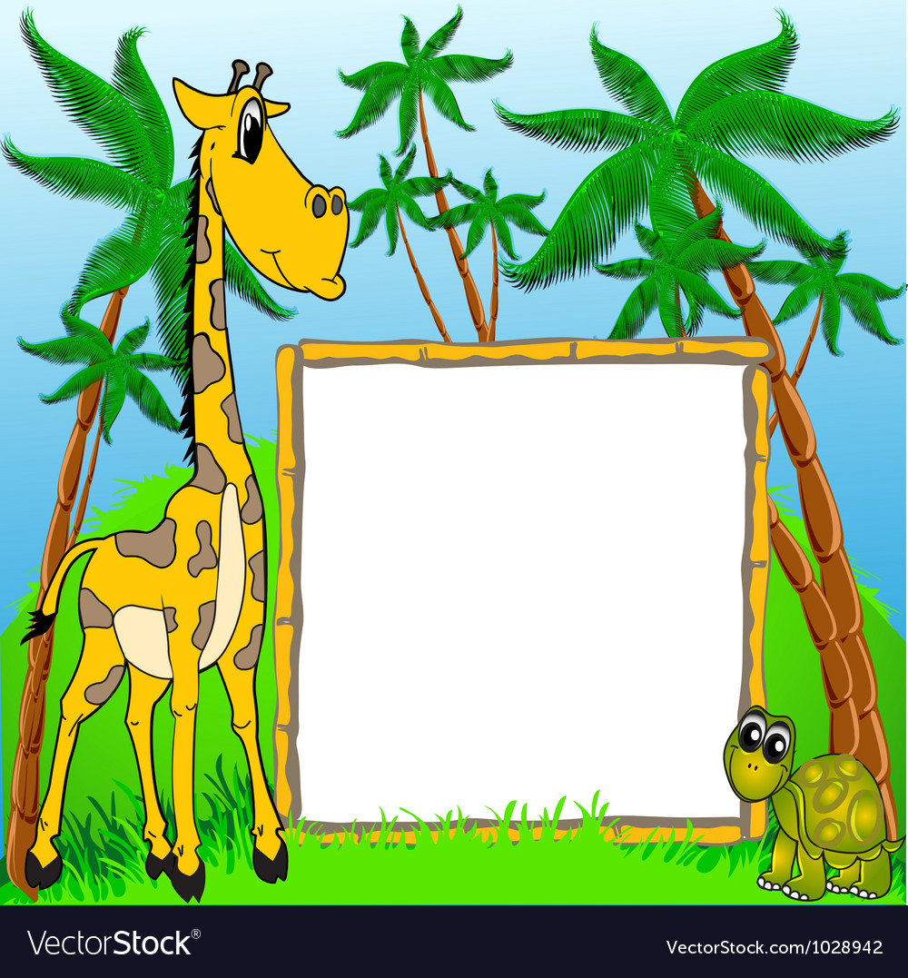 Background giraffe and terrapin on background of t