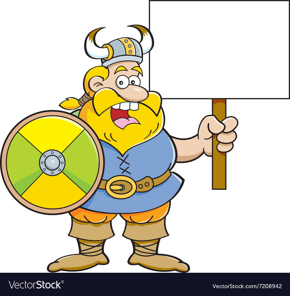 Cartoon viking holding a sign