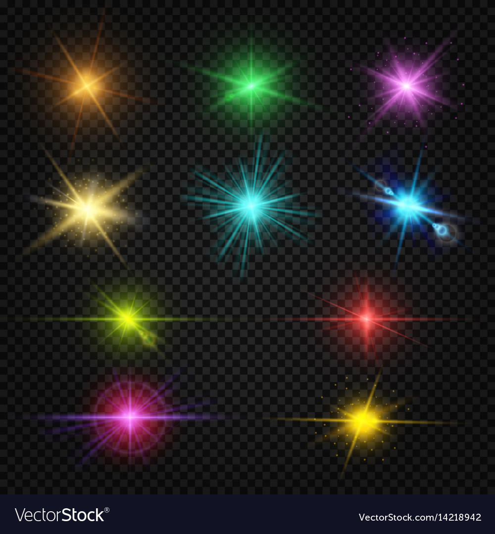 Festive color lens flare light effects party vector