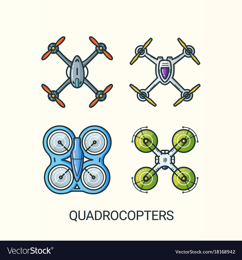 Flat line quadrocopters detailed icons vector image