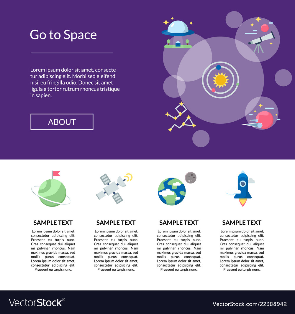 Flat space icons landing page template