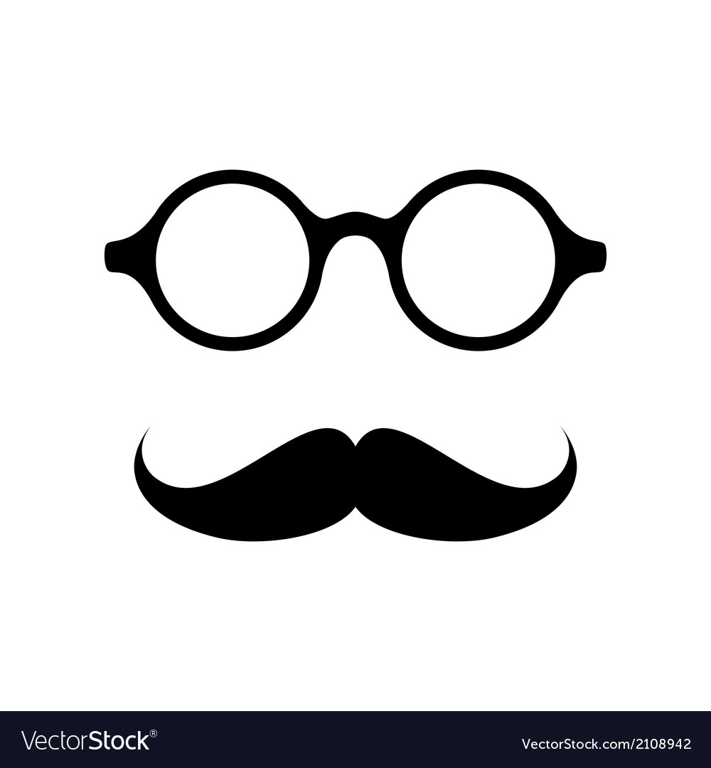 glasses with mustache royalty free vector image rh vectorstock com mustache vectors photoshop mustache vector free download