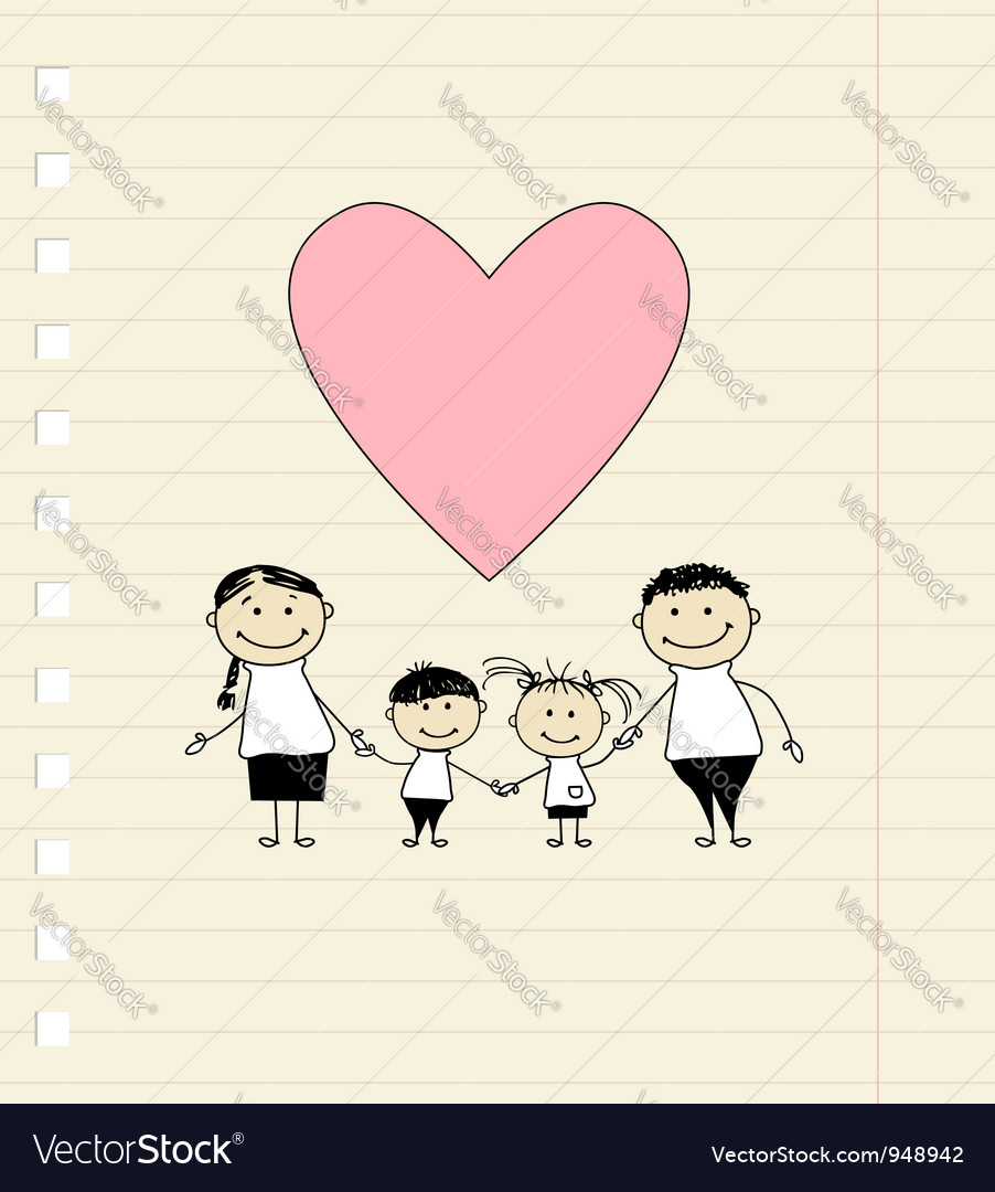 Happy family with love drawing sketch vector image