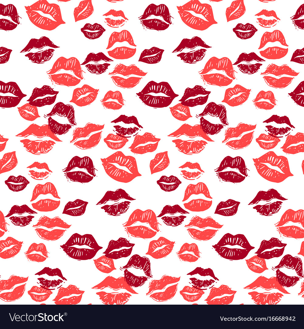 Kiss marks seamless pattern grunge hand drawn