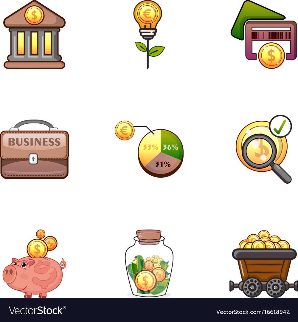 Money infographic icons set cartoon style