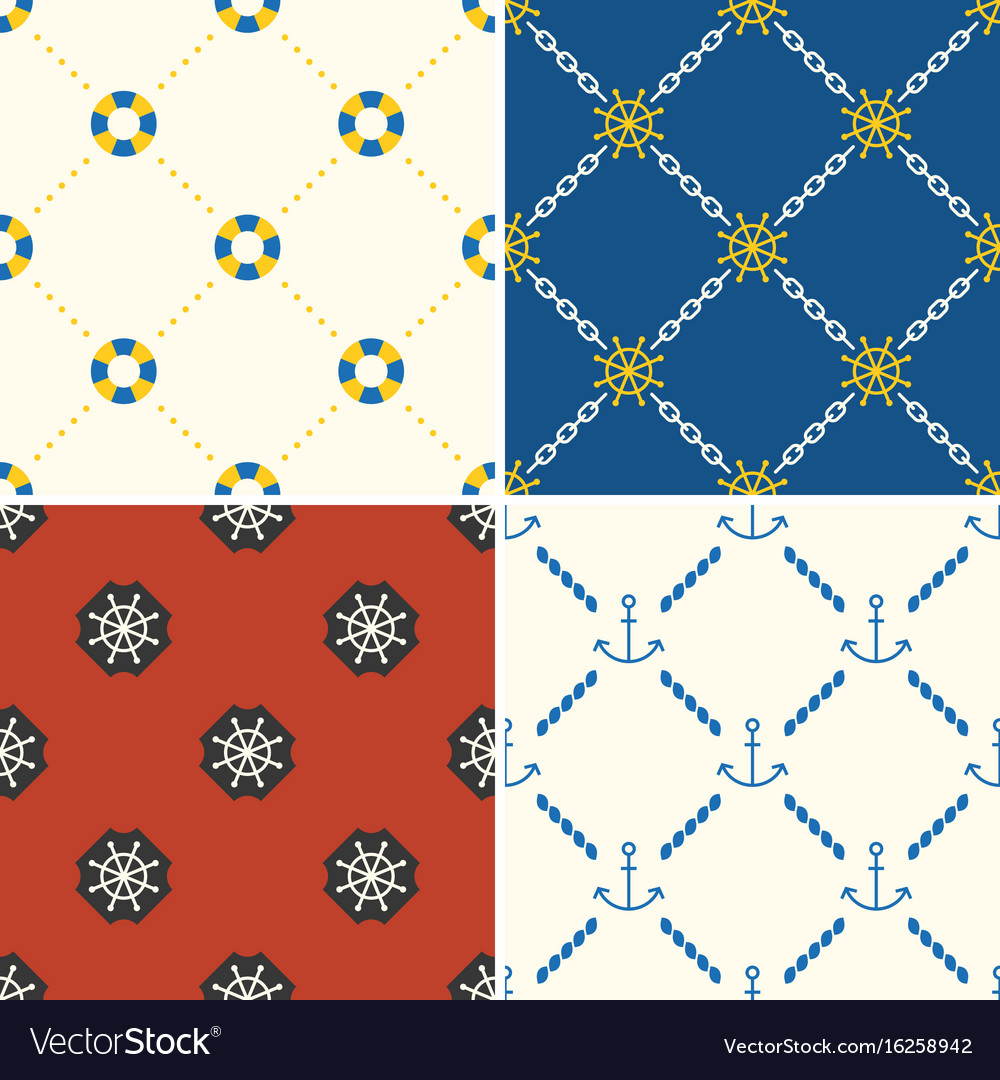 Navy and nautical seamless pattern theme set 5