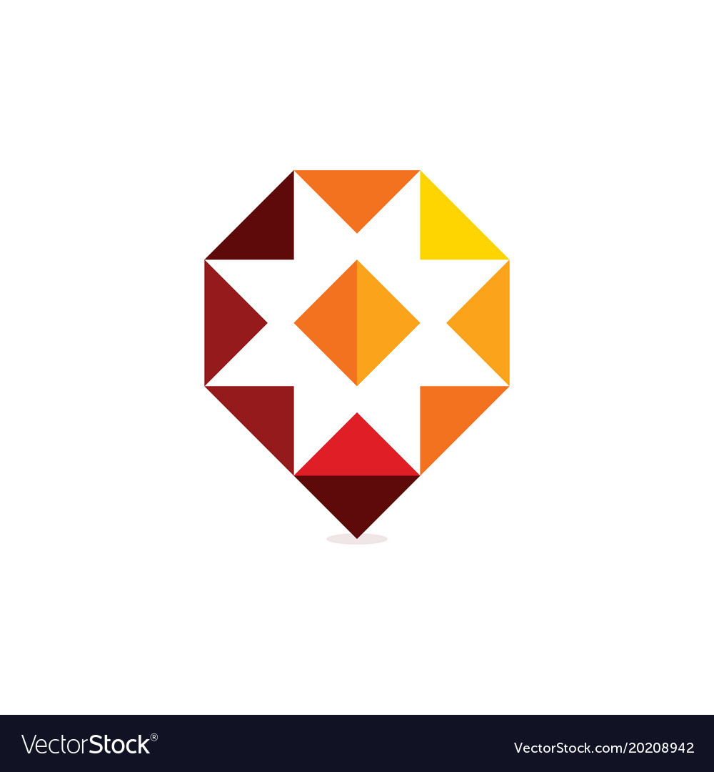Red polygonal abstract medical cross unusual icon