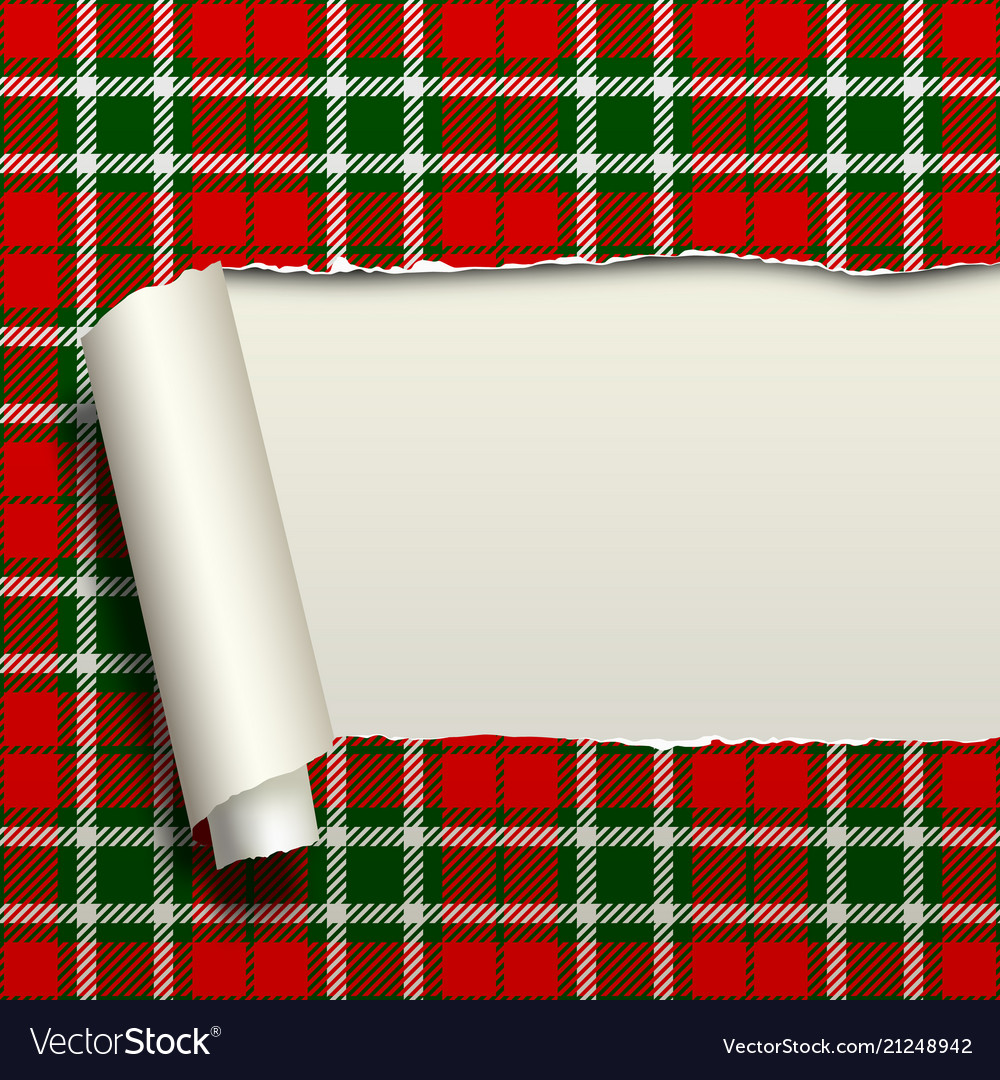 Ripped paper with tartan seamless pattern