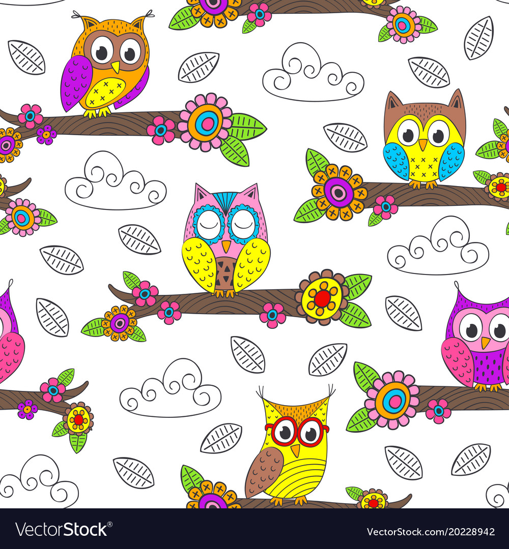 Seamless pattern with funny owl on branch