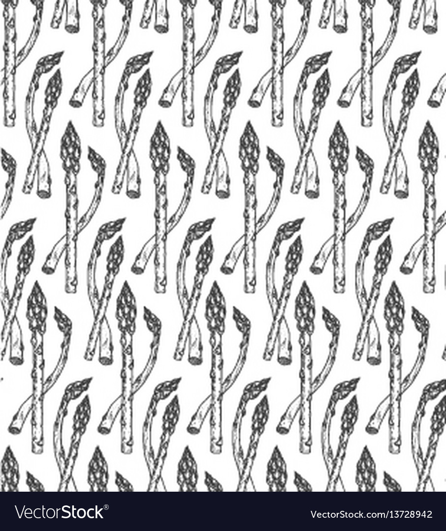 Seamless pattern with sketch style asparagus tile
