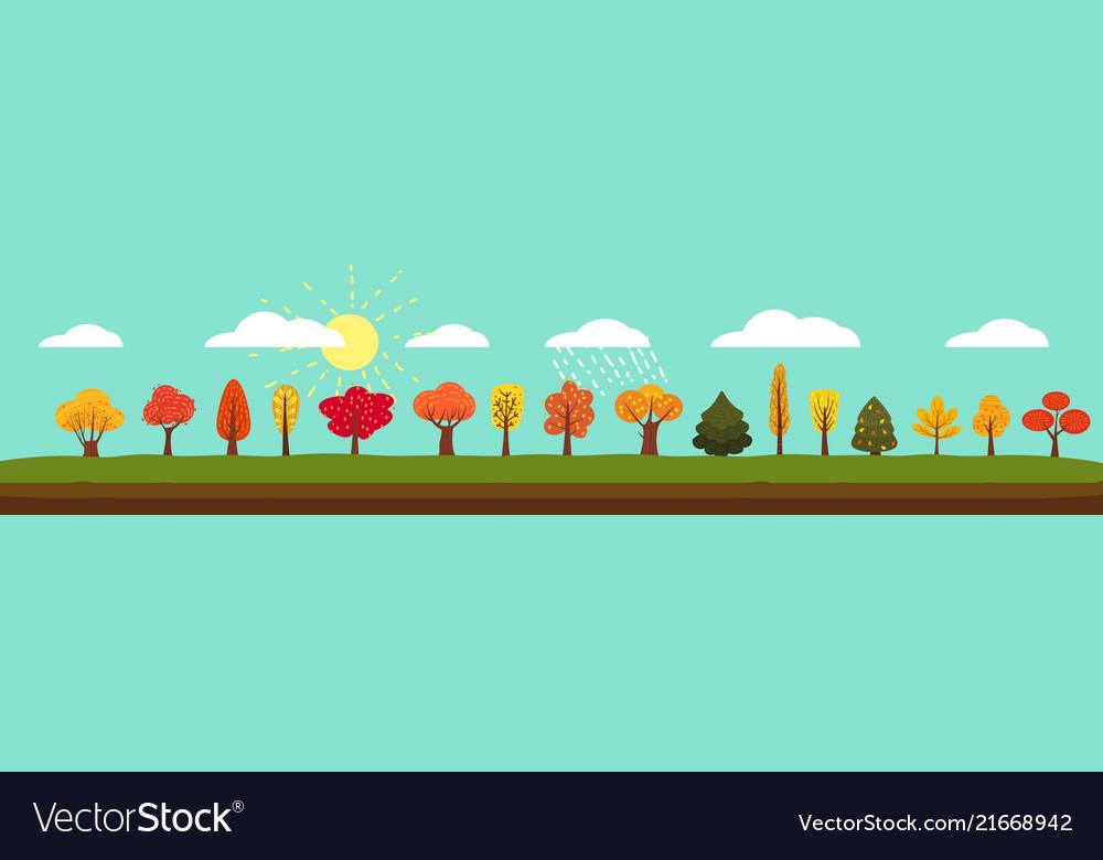 Simple landscape set of autumn trees different